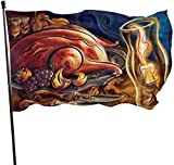 Viplili Flagge/Fahne, Thanksgiving Roast Chicken Candles Grapes Knives Flag: 3x5 FT Flag Tough The Strongest, Longest Lasting Flag National Flag Outdoor Flags