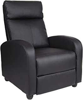 Polar Aurora Recliner Chair Leather Single Modern Sofa Home Theater Seating for Living Room (Black)