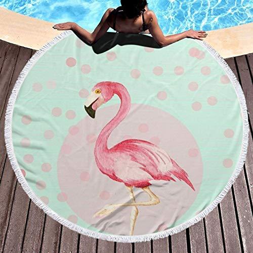 Toalla de playa redonda con estampado de flamencos para yoga, picnic, mantel redondo, ultra suave, súper absorbente de agua, toalla de rizo con borlas
