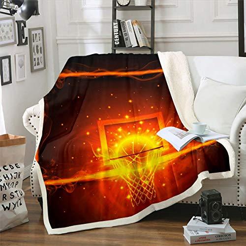 Manta de baloncesto con diseño de sherpa para silla, sofá, sofá, pelota de arder, regalo para silla, sofá, jugador, felpa, manta de felpa, decoración de habitación para bebé, 30 x 40 pulgadas
