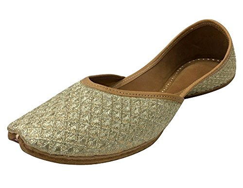 Step n Style Beaded Sandals Ethnic Sandals Khussa Shoes Punjabi Jutti Mojari Jooti Cream Gold