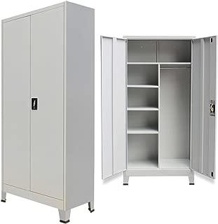 Festnight Office Steel Locker Cabinet with 2 Doors Gray 35.4