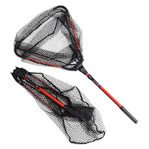 Redes de pesca triangulares portátiles y livianas, red de aterrizaje retráctil de aleación de aluminio de 80 cm, malla de material de nailon duradero Redes de pesca Captura o liberación segura de pece