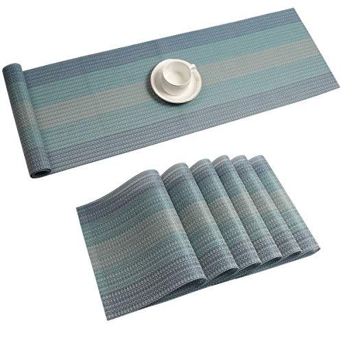 Pauwer Tischläufer und Tischsets Set von 6 Gewebtes Vinyl rutschfeste Platzsets, Hitzeresistente Waschbare Esstisch-Platzmatten,Blau