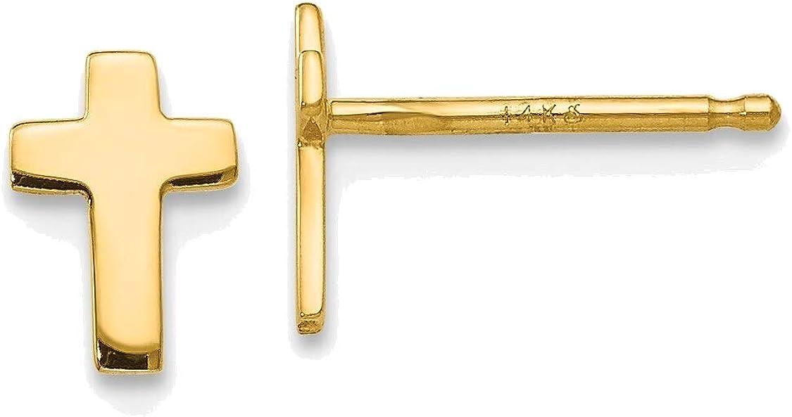 Polished Cross Post Earrings in 14K Yellow Gold