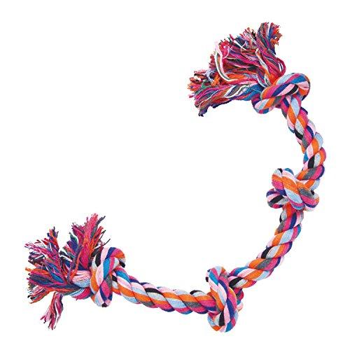 GLORIA chien jouet corde - 40 cm - Avec 4 Nœuds - Jouet pour chien - matériaux résistants - santé maintient les gencives - couleurs assorties