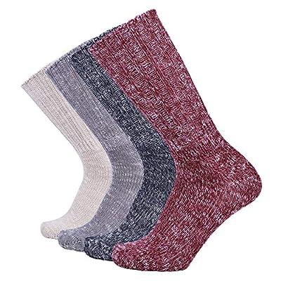 Enerwear 4 Pack Women's Wool Casual Crew Boot Sock(US 9-11, Wine/Khaki/Navy/Multi)