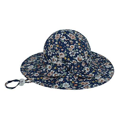 AHECZZ Sombrero,Sombrero para bebés Sombrero de ala Grande para niñas Sombrero de Cubo Sombrero de Playa para Exteriores 48 Azul marinoAzulFloral