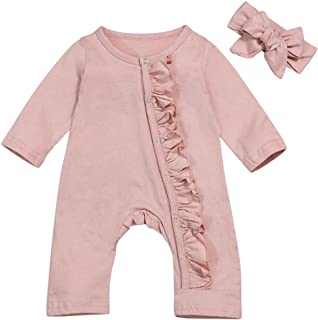 Newborn Baby Girls Romper Jumpsuit Flower Long Sleeves Bodysuit + Floral Headband 2Pcs Outfit Set