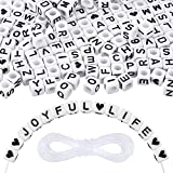 Upgrade Heflashor 1500 PCS Letter Beads Acrylic Beads for Bracelets,Cube Letter Beads Kits,Square Alphabet Beads A-Z and Heart Beads for Jewelry Making/Bracelets/Necklaces,Large 6 X 6mm (White)