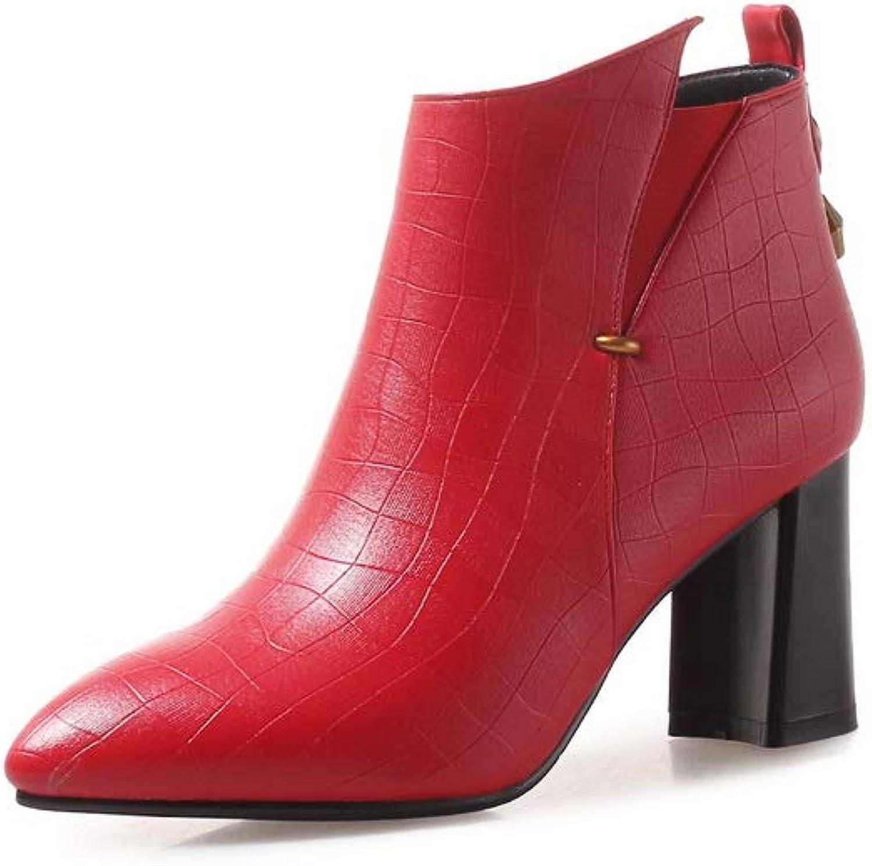 AdeeSu Womens Chunky Heels Pointed-Toe Urethane Boots SXC03877