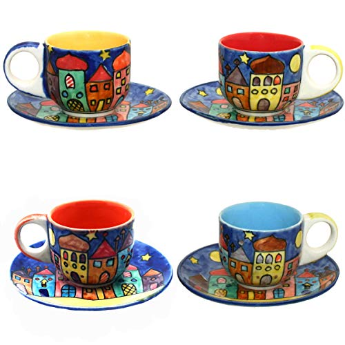 Gall&Zick Set/4 Espressotasse mit Untertasse Mokkatasse Untersetzer Unterteller Tasse Kaffeetasse Teetasse Geschirr Set Keramik Bemalt Bunt Village Design