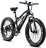eAhora Electric Bike 750W 26'' Fat Tire Electric Bikes for Adults 48V 15AH Electric Mountain Bike Hydraulic Brakes, Full Suspension, Color Display, 7-Speed Gears Electric Mountain Bike for Men