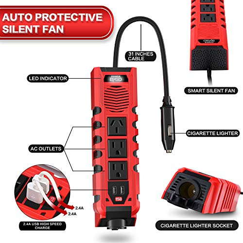 BYGD 150W Car Power Inverter DC 12V to 110V AC Converter with 3 Charger Outlets and Dual 2.4A USB Ports Cigarette Lighter Socket Adapter