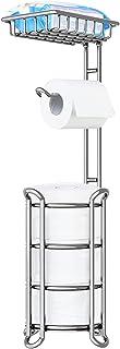 TreeLen Toilet Paper Holder Stand Bathroom Toilet Tissue Roll Holder with Shelf Freestanding Storage Phone/Wipe/Mega Roll...