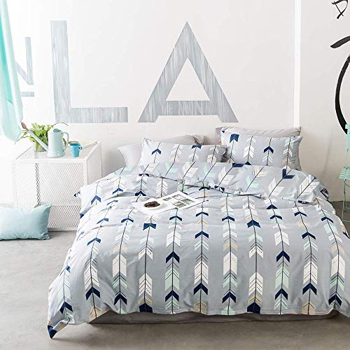 EnjoyBridal Twin Duvet Cover Sets Teens Kids Geometric Cotton Bedding Sets Boys Girls Arrows Triangle Comforter Cover with Zipper Closure (Twin,Blue-Grey)