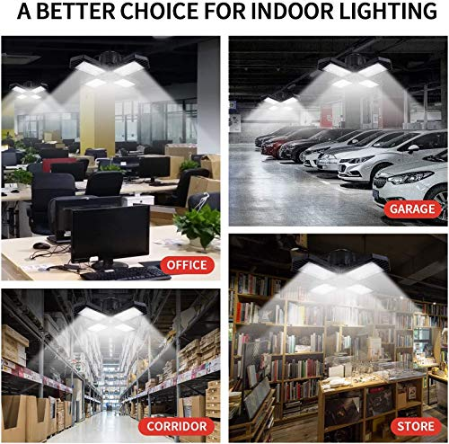 2 Pack LED Garage Lights,80W Deformable Led Garage Ceiling Lighting 8000LM E26 Daylight 6000K LED Garage Lighting Super Bright Adjustable Garage Light for Garage,Warehouse 7