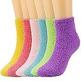 QKURT 6 Paare Kuschelsocken für Mädchen, Flauschige Socken Kuschelsocken Kuschel Socken Haussocken Damen