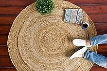 IMPEXART PVT LTD Alfombras de Yute para Sala de Estar, Redondas de algodón Tejido a Mano, 90 x 90 cm, Hilo Natural, rústico, Vintage, ecológico, Reversible, Tejido, Alfombra de 3 pies para Dormitorio