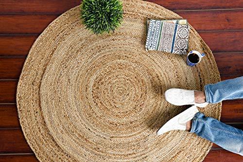 IMPEXART PVT LTD Juteteppiche für Wohnzimmer Runde handgewebte Baumwolle 90 X 90 cm Naturgarn Rustikal Vintage Umweltfreundlich Geflochtener Wende-Teppich 3 Fuß für Schlafzimmer, Bauernhaus