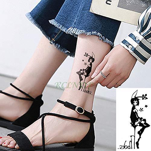 Handaxian 3 Piezas Etiqueta engomada del Tatuaje a Prueba de Agua Rojo Belleza Chica Amor Tatuaje Collar Arte Chica Mujer Tatuaje