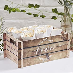 Ginger Ray Wooden Effect Card Crate Box ideal for weddings & parties - Beautiful Botanics:Bemdesaude