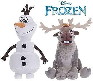 Official Disney Frozen 20cm Olaf The Snowman & 19cm Sven The Reindeer Soft Plush Toys