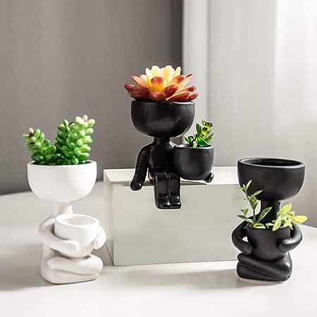 MZY1188 1pc Pot de Fleur en céramique humanoïde, Plantes Vertes Pot de Fleur de Bande dessinée Pot de Fleurs Semis Pots de semences Pépinière Pots Récipients de Plantes à Fleurs