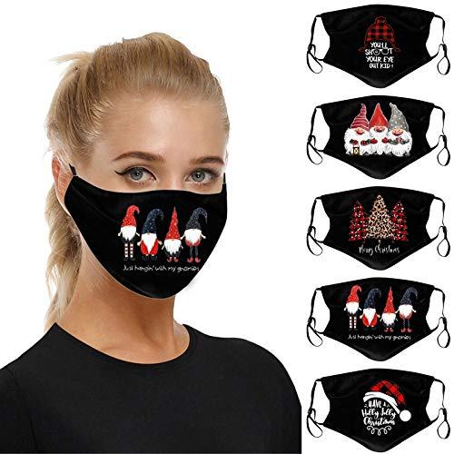 5 Stück Erwachsene-Mundschutz mit motiv Weihnachten Druck,Waschbar Wiederverwendbar,Baumwolle Stoff Atmungsaktiv,Gesichtsschutz Halstuch Bandana (A)
