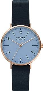 Skagen - Montre à Quartz analogique Aaren Naturals avec Bracelet en Cuir Bleu pour Femme SKW2972