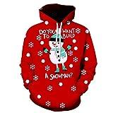 TWIFER Kapuzenpullover Unisex Weihnachten Hoodie Paare 3D Gedruckt Sweatshirt Langarm Pullover(a-Rot,S)