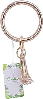 Coolcos Wristlet Keychain Bracelet Bangle Keyring - Big O Key Ring Leather Tassel Bracelet Key Chain Holder For Women Girl