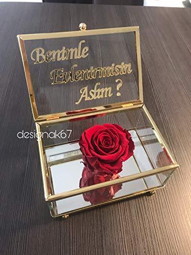 Rosenbox Ringbox Infinity Rose Konservierte Rose echte Longlife Gülkutusu solmayan gül evlenme Teklifi heiratsantrag ringbox verlobung hochzeit söz nisan yüzükkutusu
