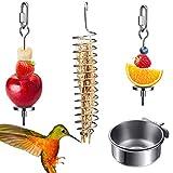 4 Soporte para Alimentos para pájaros, Cuenco para pájaros de Acero Inoxidable Luckits y Kit de Soporte para comederos, Juguetes de forrajeo, brochetas de Frutas y Verduras para Loros y Animales