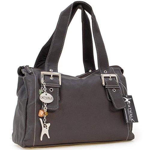 Catwalk Collection Handbags - Vera Pelle - Borsa a Spalla/Borse a Mano - Con Ciondolo a Forma di Gatto - Jane - CIOCCOLATO