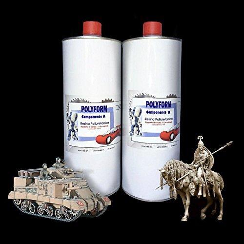 Resin Pro - 2 KG Polyform PU Gießharz & Härter - Flüssiges Polyurethan Harz zum Gießen, Ideal geeignet für Modellbau, Modellierung und Prototyping, DIY Fahrzeugmodelle - Creme