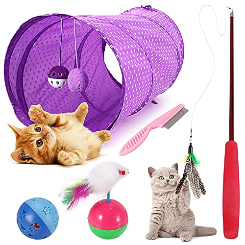 Emooqi Katzenspielzeug Interaktives Katzenspielzeug Feder 5 Stück Katzenspielzeug Mit Katzentunnel Jingle Bell Spielzeug Katzenzubehör Verschiedene Spielzeug Katzen Spielsachen Für Katze Kitty