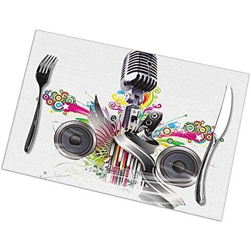 Tafelsets, wasbaar, voor microfoon, hittebestendig, antislip, 6 stuks
