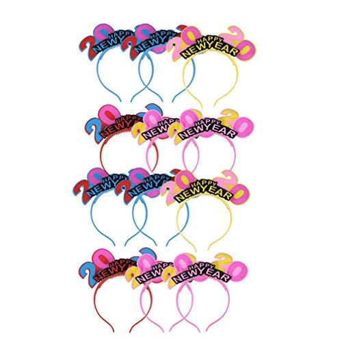 Amosfun 2020 New Year Headband 12 Pcs Light up Crown Headband Creative Party Hat Head Bopper for New Years Eve Christmas Party Favors Decorations (Random Color)
