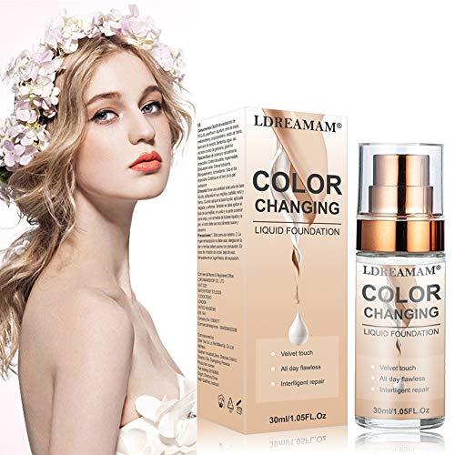 Color Changing Foundation,Flüssige Grundierung,Concealer-abdeckung,Flawless Foundation,Primer Langlebig und Perfekte Abdeckung,Makellose Farbwechselgrundierung 30ML
