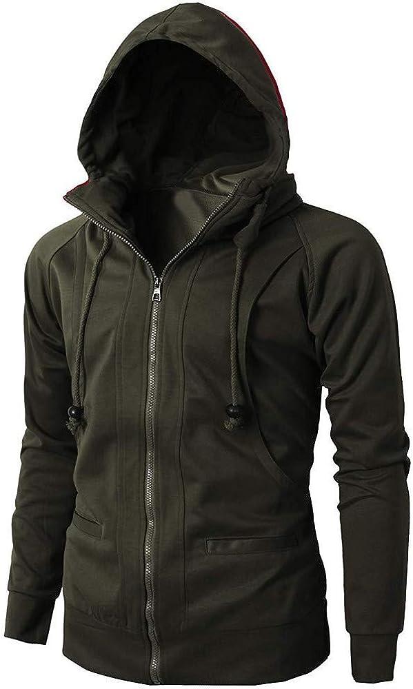 Men's Winter Full-Zip Hoodie Jacket Hooded Sweatshirt Pullover Coat Long Sleeve Autumn Warm Fashion Zipper Sport Top Asibeiul