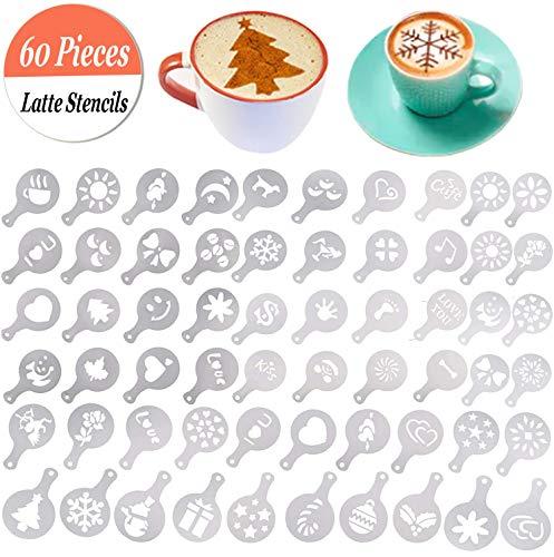 Chougui 60pezzi barista Coffee Stencils latte Art stencil cappuccino Coffee stencil modelli per decorare biscotti, glasse, torte, cupcake Decor | food grade PP, facile da pulire, vari modelli
