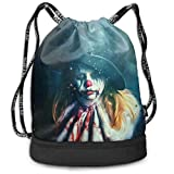 Clown Girl Drawstring Bags Multifunction Bundle Backpack Grande capacité Léger Simple Portable Funny Hand Handbag, for Women Kids School Gym Travel (Polyester)