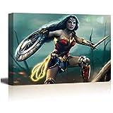 SSKJTC - Tela artistica da parete, motivo: Wonder Woman Battleground, decorazione artistica visiva, 61 x 45,7 cm
