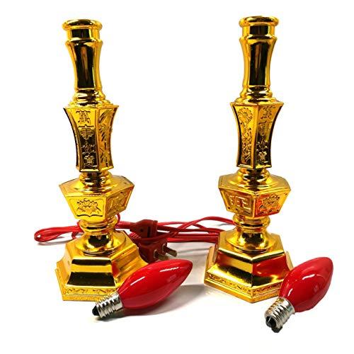 Ashley GAO Luz de vela eléctrica 8 pulgadas rojo llevó 2w E12 bombilla vela luz Lotus lámpara de Buda lámpara Lotus