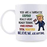 Regalo para el padrastro Taza personalizada de Donald Trump Fantástica taza de café El mejor padrastro de la historia Ideas de regalo del padrastro de Trump para el día 11 oz Blanco