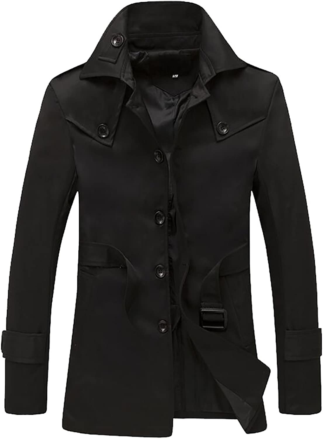 ARRIVE GUIDE Mens Solid Single-Breasted Belted Mid Long Outwear Trench Coat