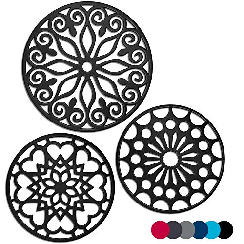 3 Set Silicone Trivet Mats With 1 Extra Large Included | Intricately Carved Insulated Flexible Durable Non Slip Thick Round Premium Trivets for Hot pots and pans | Black