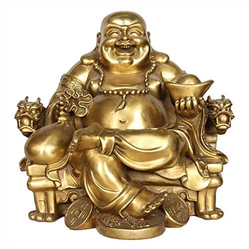 Lachender Buddha Figur Gold Statue, Maitreya Auf Emperor's Dragon Stuhl Skulptur Dekoration, Chinesische Statue Home Decoration Geschenk Statue Zur Innendekoration
