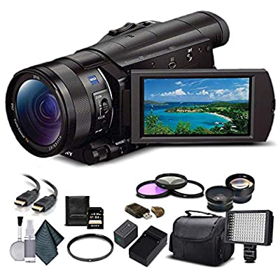 Sony FDR-AX100 4K Ultra HD Camcorder (FDR-AX100 4K PAL) With 64GB Memory Card, Extra Battery and Charger, UV Filter, LED Light, Case, Telephoto Lens, Wide Angle Lens, and More - Advanced Bundle from Sony
